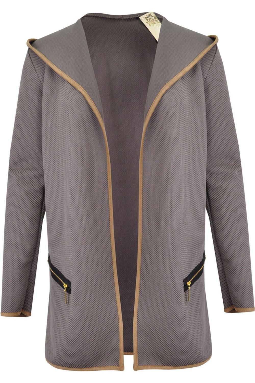 Femme-Coude-d-039-un-ourlet-a-finitions-Poche-Zippee-Manches-Longues-cardigan-a-capuche-femme miniature 7