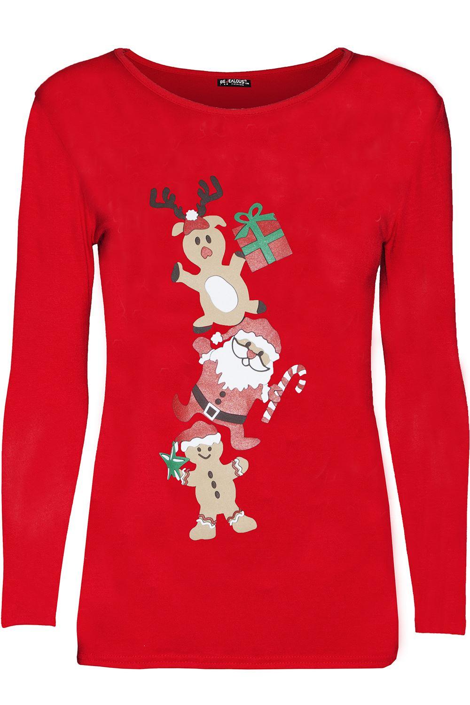 945a3d79 Women Xmas T Shirts Ladies Reindeer Glitter Nose Snowman Printed ...