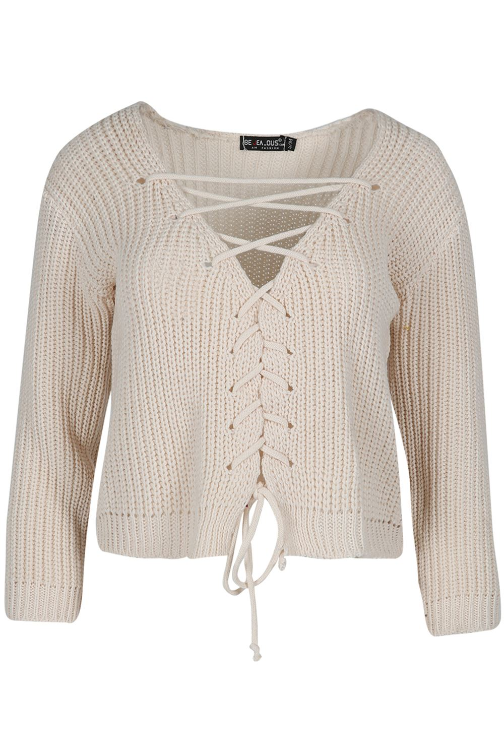 Womens Lace Up Plunge V Neck Chunky Cable Knit Jumper ...