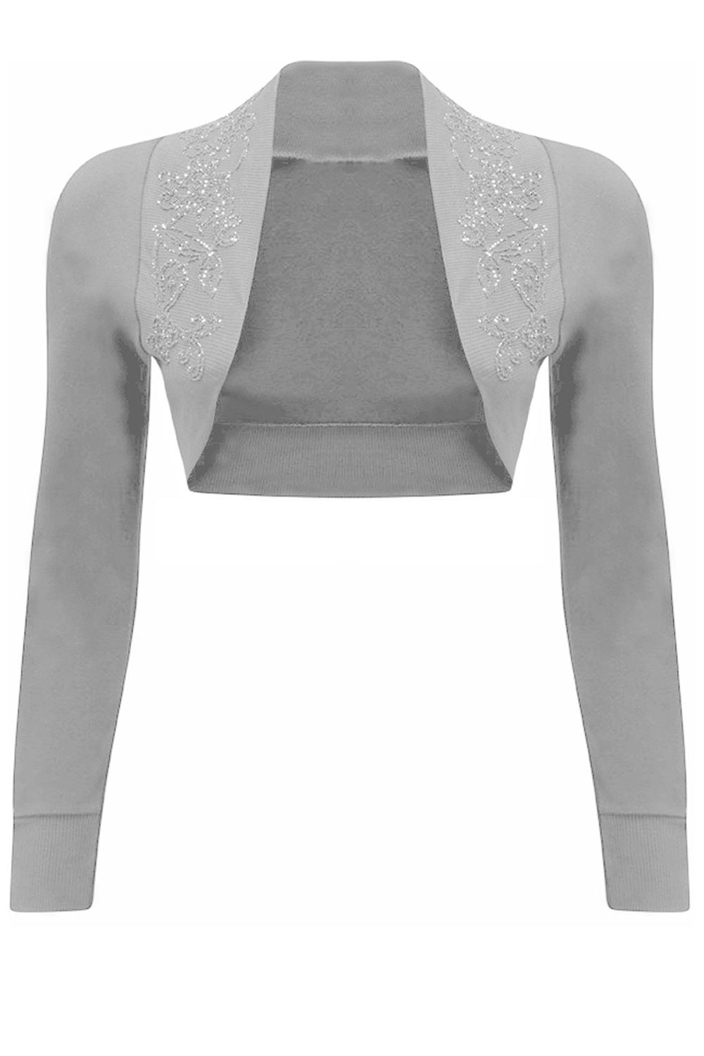 b3ccc8a52d6 Plus Size Ladies Womens Beaded Long Sleeve Collared Bolero Crop ...