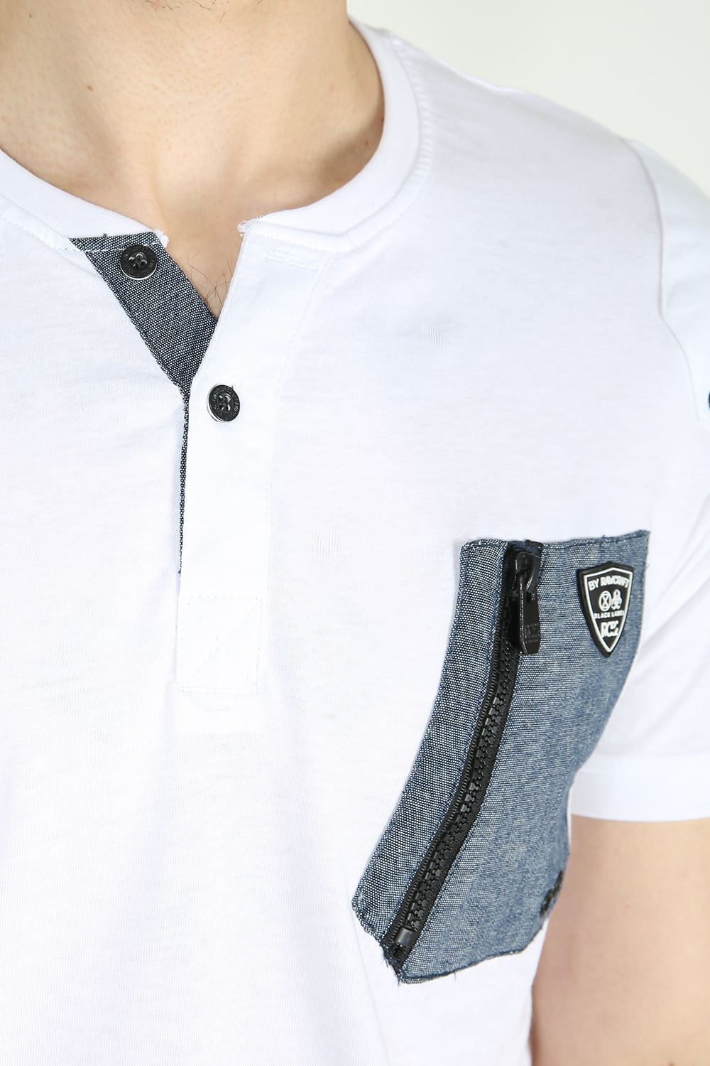 Rawcraft mens branded chest pocket button neck short for Button collar t shirt