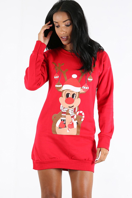 Womens Ladies Elf Reindeer Santa Christmas Long Sweatshirt