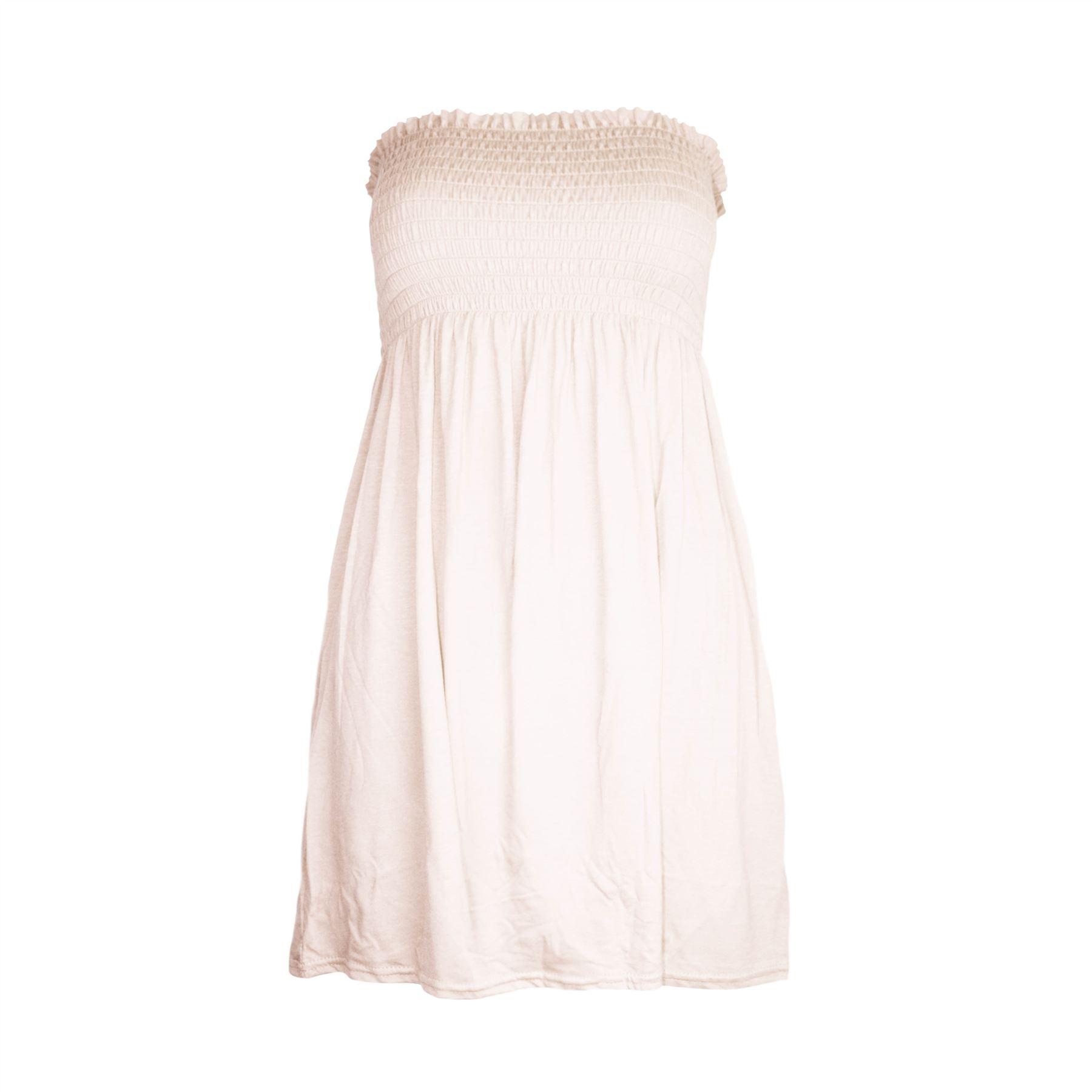 Womens-Sheering-Boob-Tube-Gather-Bandeau-Top-Ladies-Mini-Dress-Plus-Size-UK-8-24
