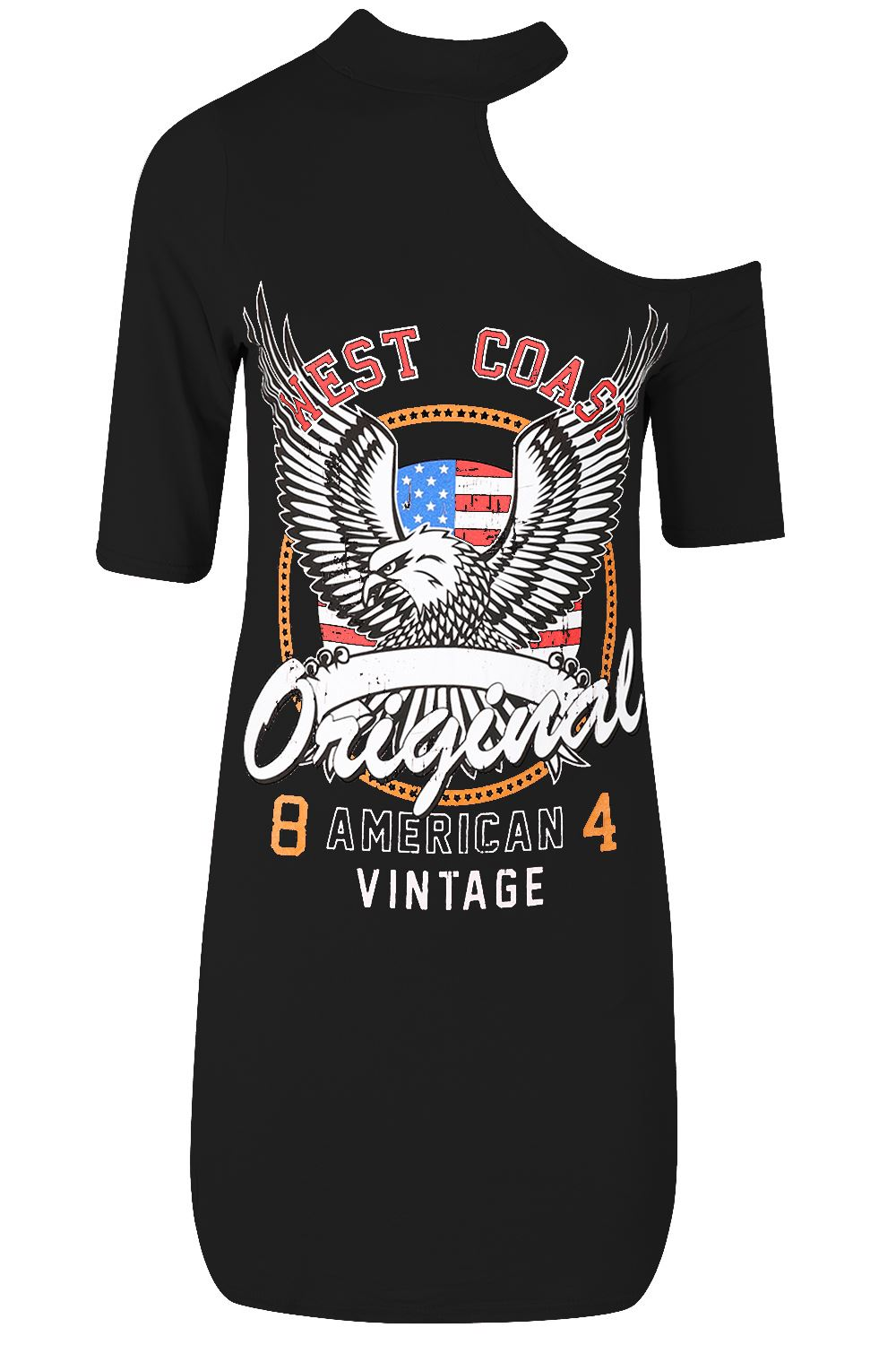 damen frauen rock american west coast original einschultrig lange t shirt kleid ebay. Black Bedroom Furniture Sets. Home Design Ideas