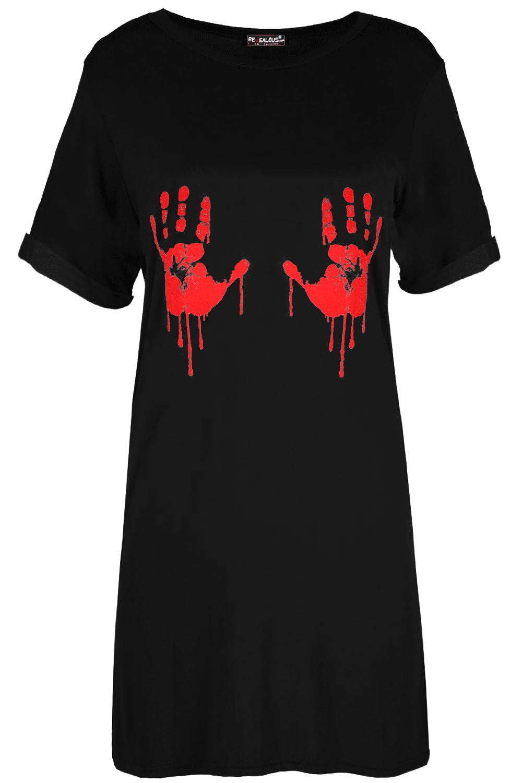 LADIES WOMENS BLACK STRETCHY SKELETON W BLOODY HEART PRINTED T-Shirt UK 8-22