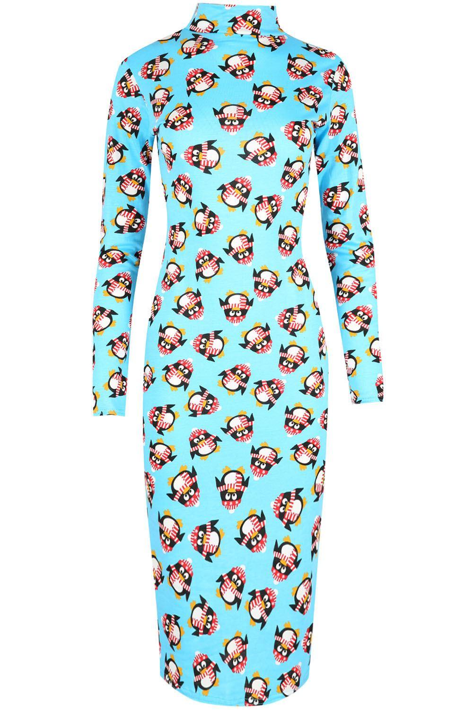 Womens-Santa-Penguin-Polo-Neck-Midi-Dress-Ladies-Christmas-Print-Bodycon-Top