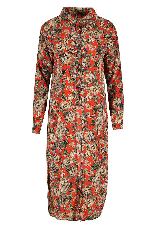 women ladies floral collar long sleeve button front split curved hem shirt dress ebay. Black Bedroom Furniture Sets. Home Design Ideas