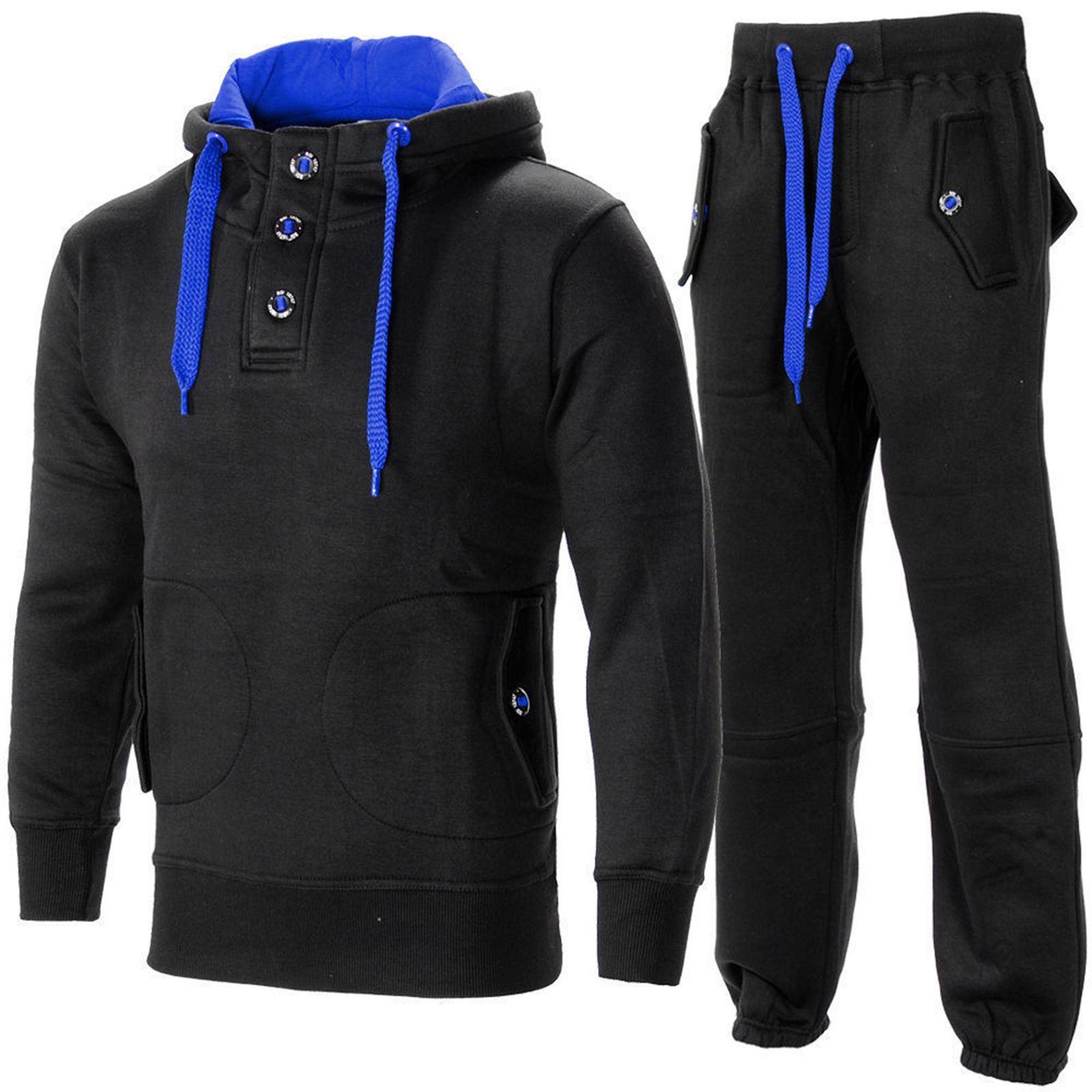Mens hooded tracksuit gym contrast jogging full top fleece for Gimnasio 9 entre 40 y 41