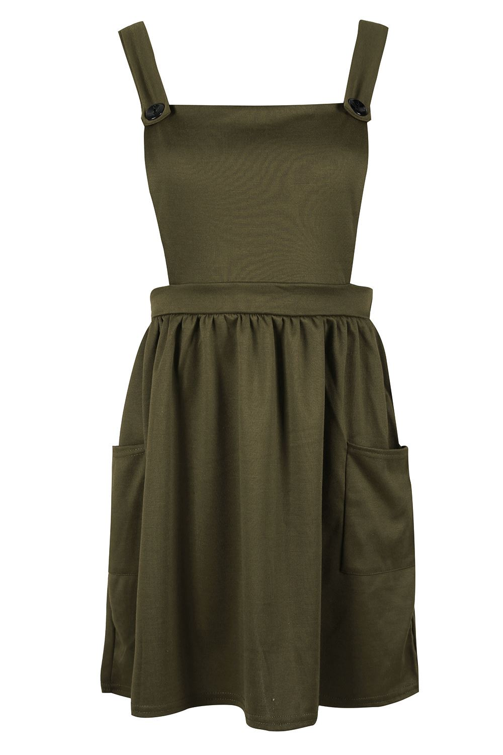 Womens-Ladies-Dungarees-Pinafore-Cross-Back-Strappy-Skater-Flared-Dress-Playsuit thumbnail 8