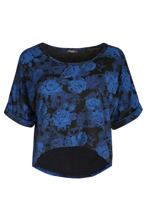 Ladies Baggy Hi Lo Dip Hem Womens Stretchy Turn Up Cap Sleeves Printed Crop Top