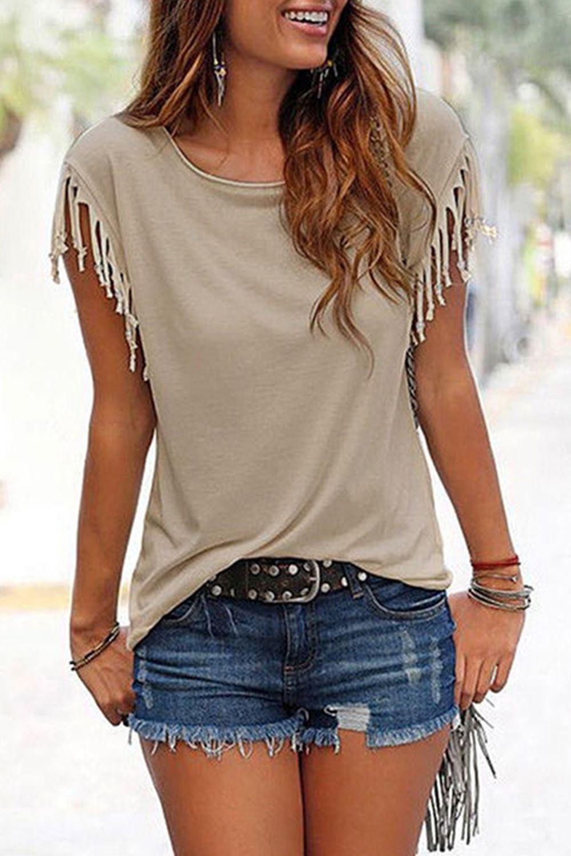 Ladies-Womens-Short-Sleeve-Fringe-Loose-Summer-Top-Casual-Blouse-T-Shirt-Tops-UK thumbnail 5