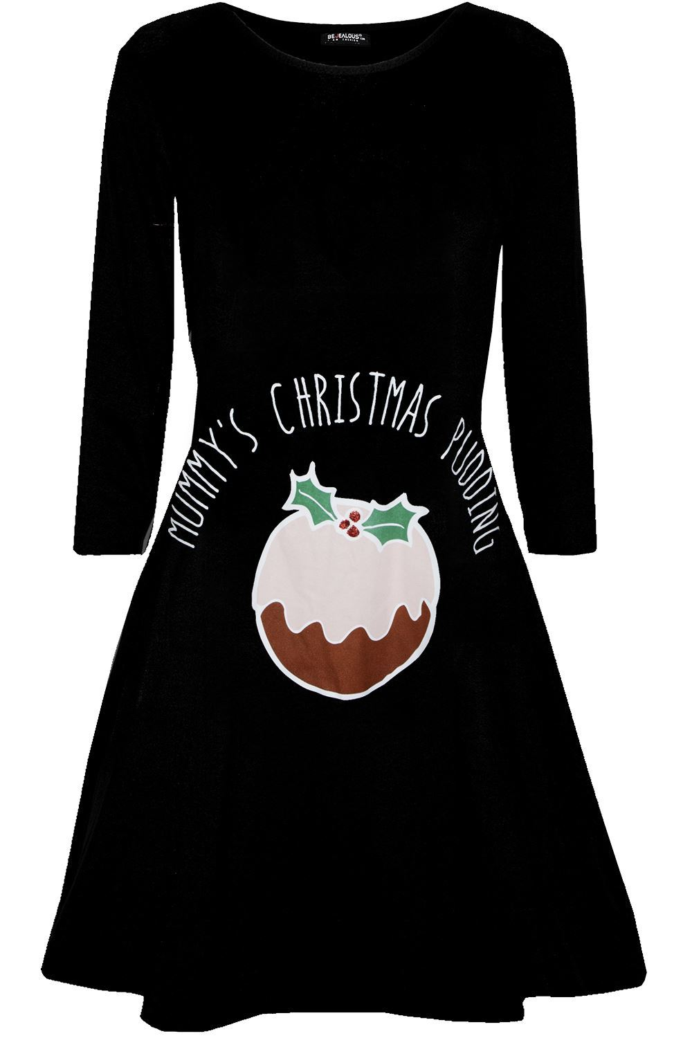 Womens-Ladies-Kids-Girls-Christmas-Xmas-Santa-Reindeer-Flared-Swing-Mini-Dress thumbnail 46