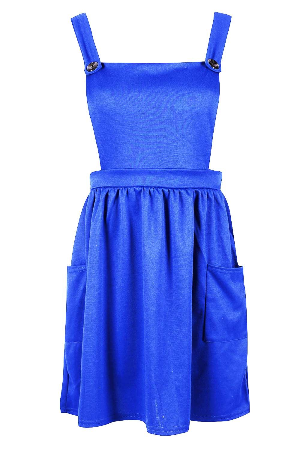 Womens-Ladies-Dungarees-Pinafore-Cross-Back-Strappy-Skater-Flared-Dress-Playsuit thumbnail 7