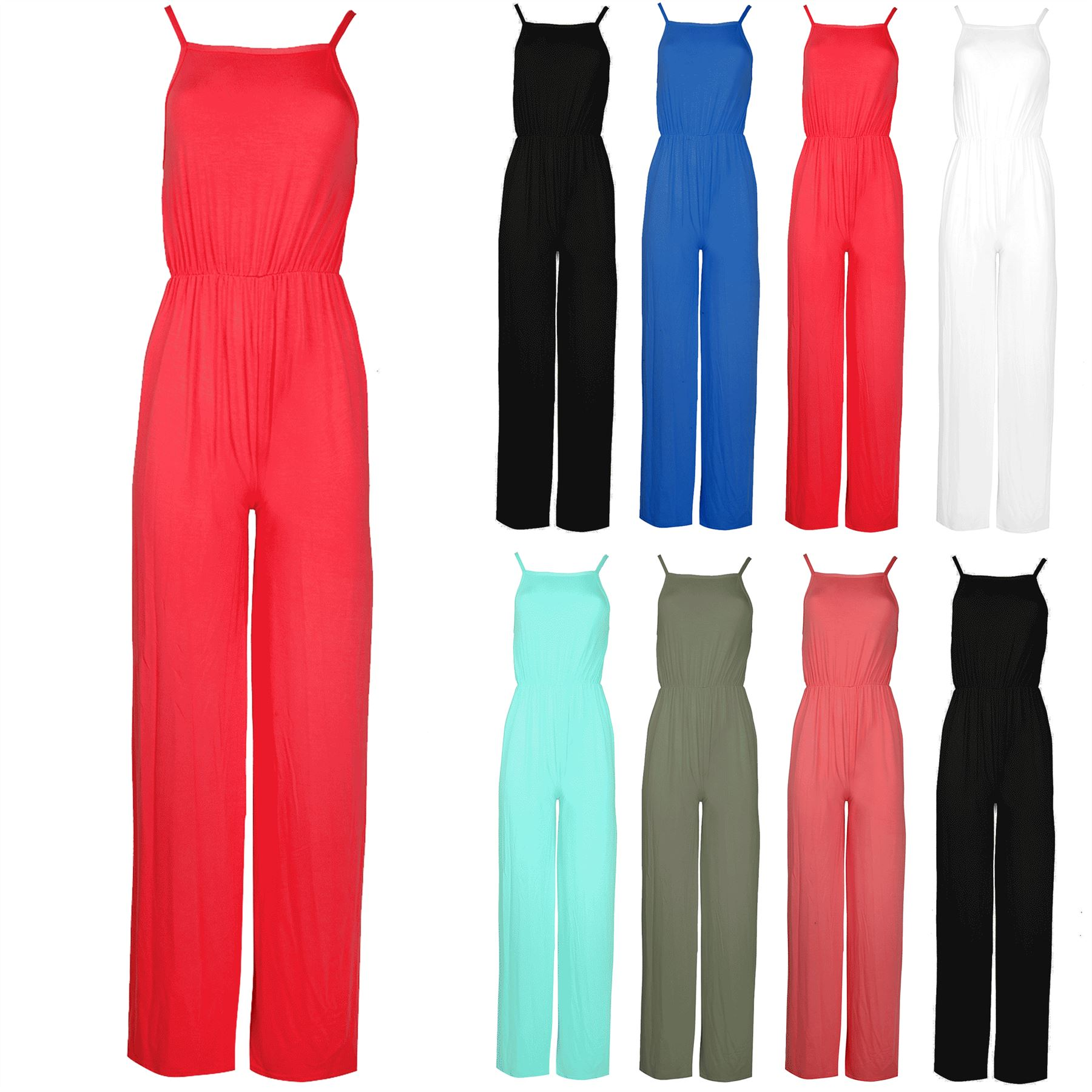 Womens Ladies All In One Cami Wide Leg Palazzo Playsuit Jumpsuit ... f5d61e07b