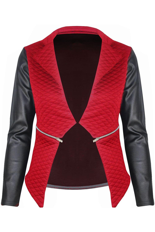 New-Womens-Ladies-Quilted-PVC-Long-Sleeves-Zip-Blazer-Top-Waterfall-Jacket-Coat thumbnail 5