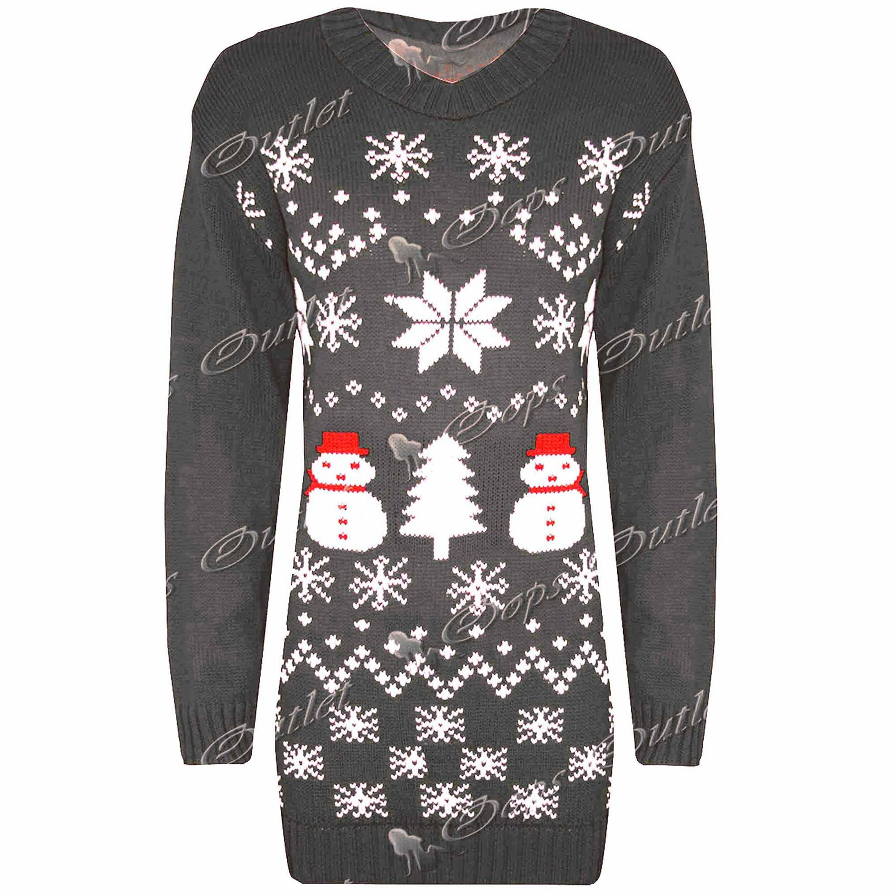 Womens Ladies Snowman Xmas Christmas Tree Knitted Dress