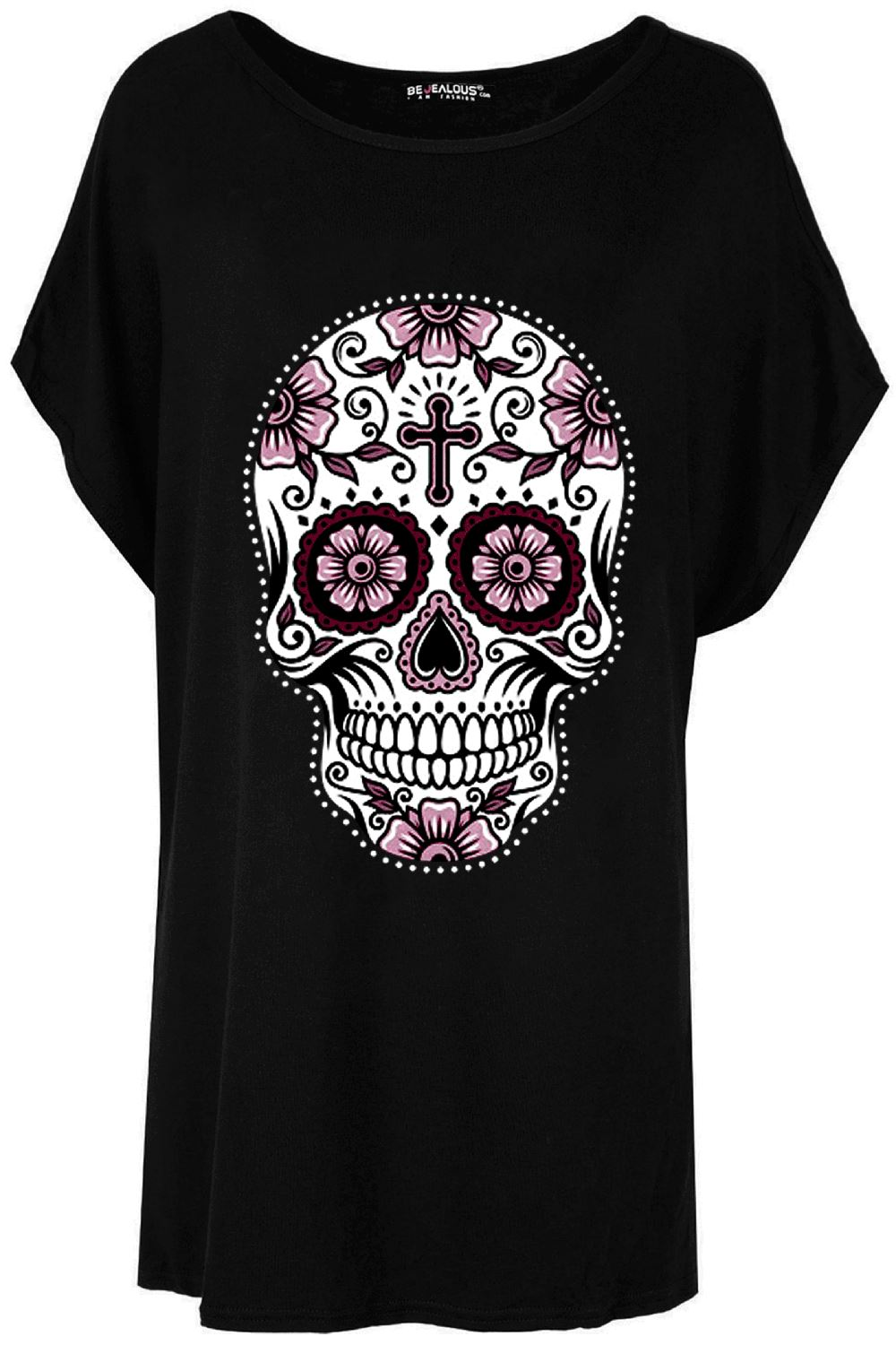 2a17b244d9a Ladies Floral Halloween Baggy Batwing Lagenlook Skull Off Shoulder T ...
