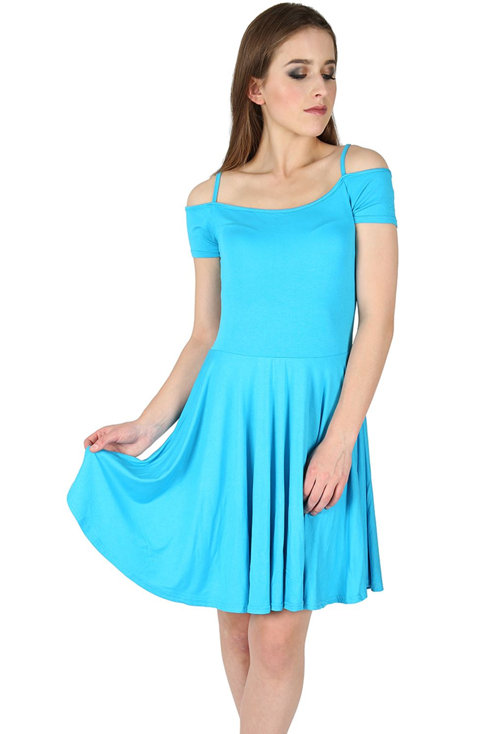 Womens Skater Dress Ladies Cami Strappy Off Cut Shoulder Bardot ...