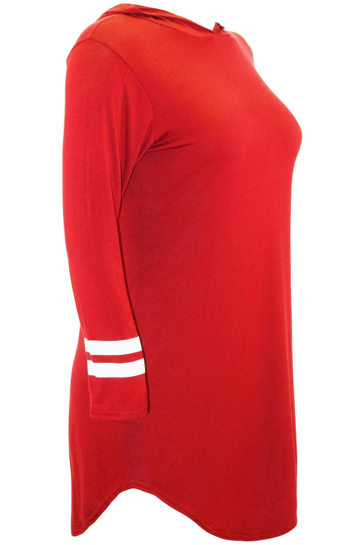 228ae3eddb Plus Size Ladies Womens Baggy Oversize Varsity Long Sleeve Stripes T ...