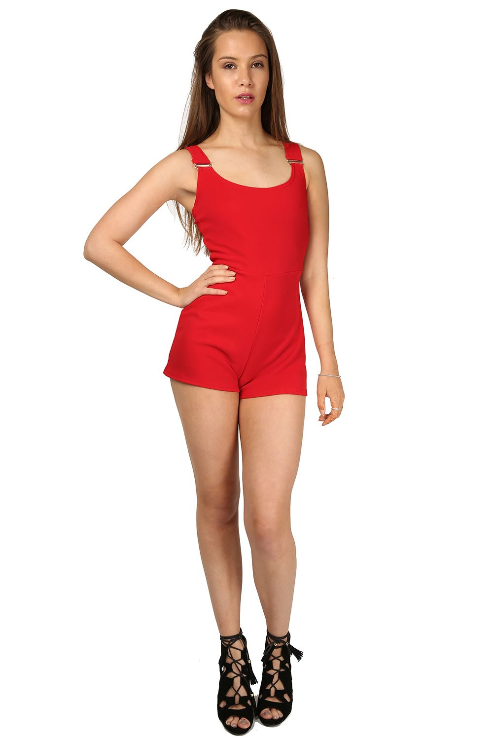 New Womens Ladies Buckle Braces All In One Piece Short Romper Jumpsuit Playsuit | EBay