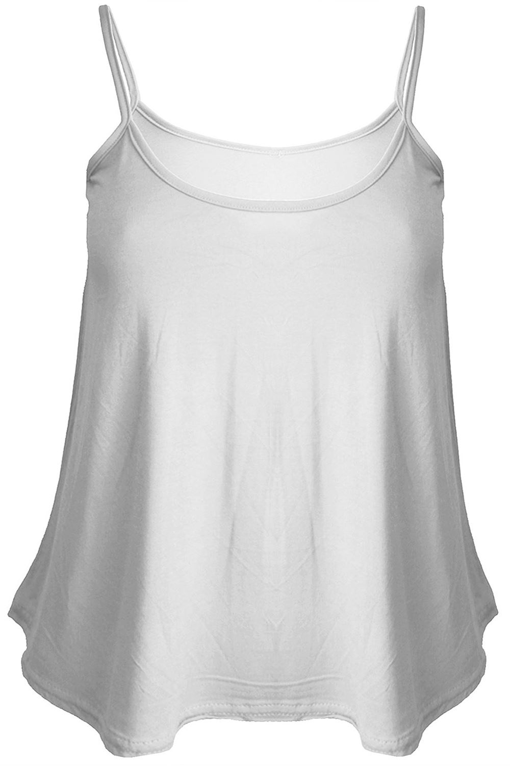 1c07ccee33e5a Plus Size Womens Ladies Cami Sleeveless Swing Vest Strappy Plain ...