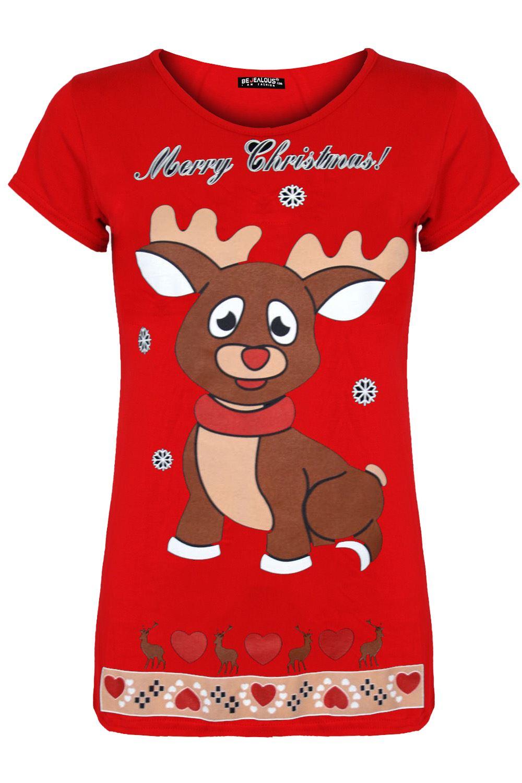 Kids Girls Dancing Reindeer Print Round Sleeve Christmas Cap Sleeve T Shirt Top