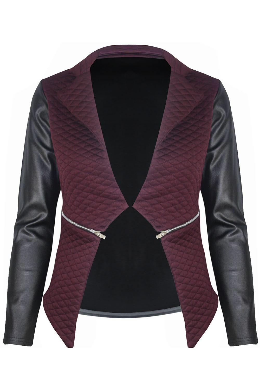 New-Womens-Ladies-Quilted-PVC-Long-Sleeves-Zip-Blazer-Top-Waterfall-Jacket-Coat thumbnail 2