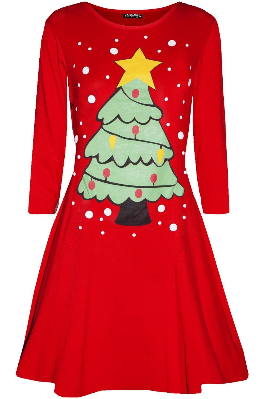 Womens-Christmas-Long-Sleeve-Santa-Reindeer-Gingerbread-Ladies-Swing-Mini-Dress thumbnail 33