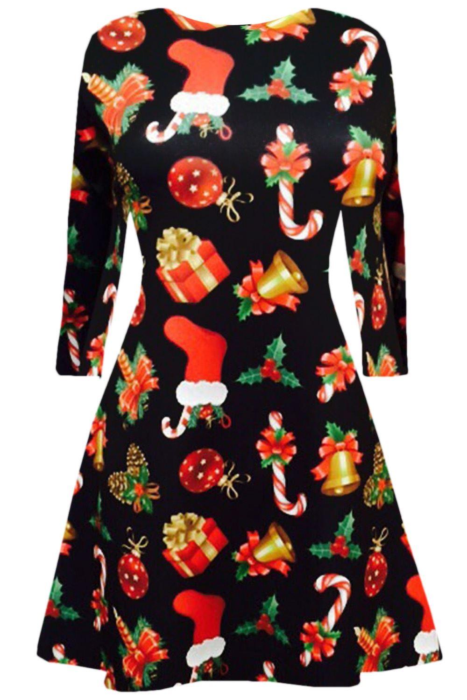 Women-Ladies-Kids-Girls-Xmas-Santa-Gifts-Christmas-Print-Skater-Mini-Swing-Dress thumbnail 6
