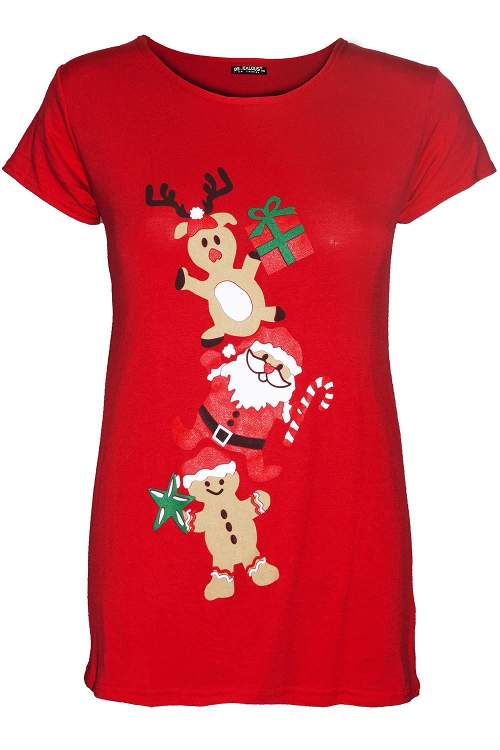 thumbnail 42 - Womens-Christmas-Xmas-Pullover-Elf-Candystick-Snowflakes-Ladies-T-Shirt-Tee-Top