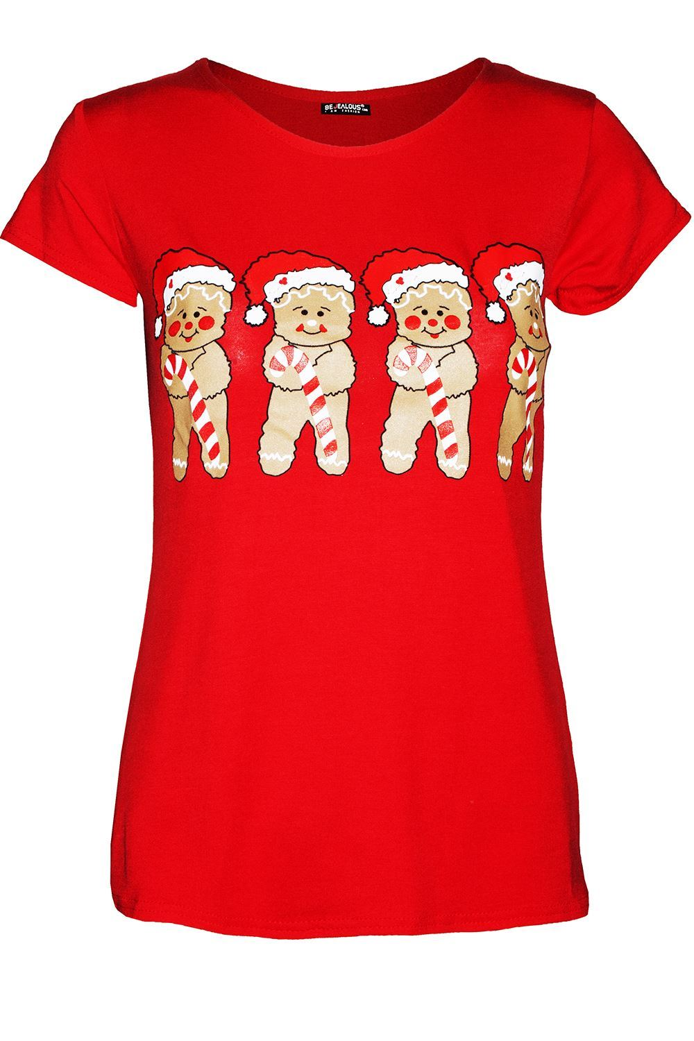 thumbnail 45 - Womens-Christmas-Xmas-Pullover-Elf-Candystick-Snowflakes-Ladies-T-Shirt-Tee-Top