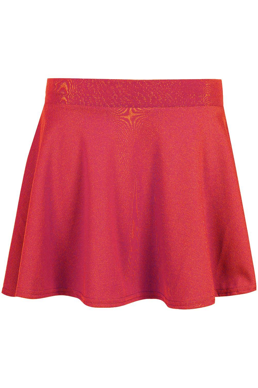 Kids Girls High Stretch Waisted Skirt Skater Uniform ...
