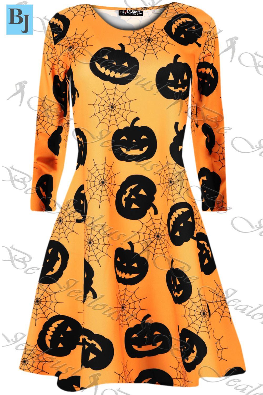 1a3567d2a8f7 Womens Costume Galaxy Bat Skull Ladies Smock Flared Mini Swing Dress UK 8-34