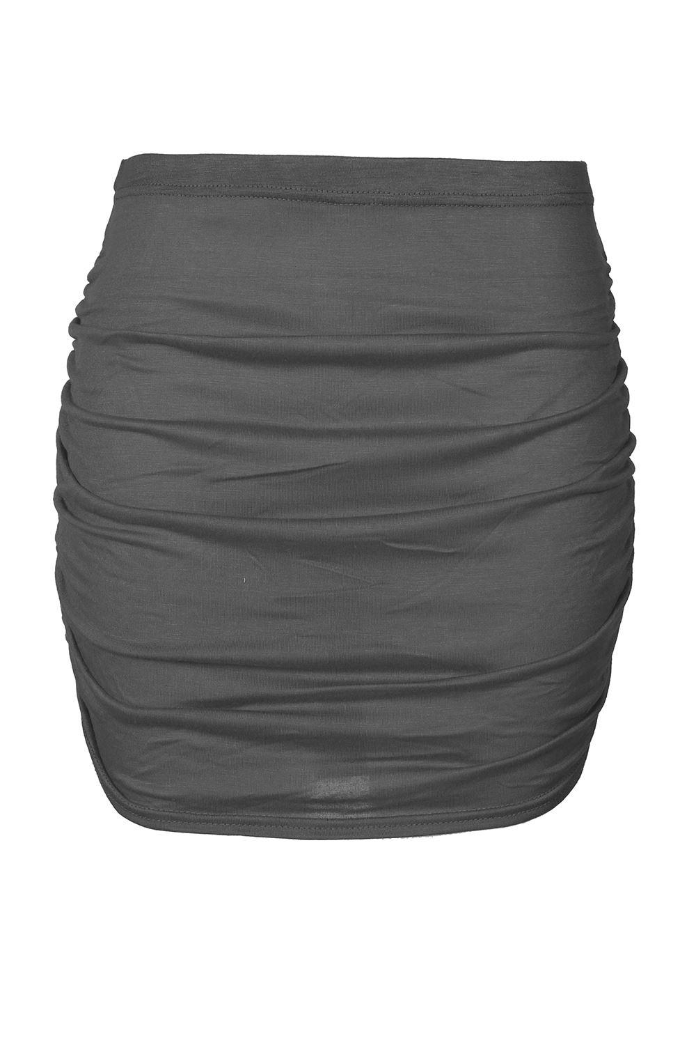 Womens Side Ruched Mini Skirt Ladies Plain Stretchy Side Ruched Gathered Skirt