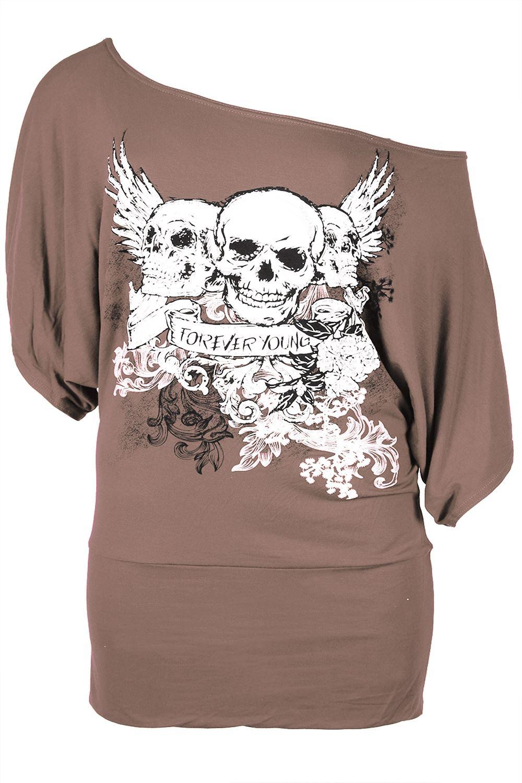 Plus-Size-Ladies-Women-3-Skull-Off-The-Shoulder-Tunic-Bardot-Batwing-T-Shirt-Top thumbnail 6