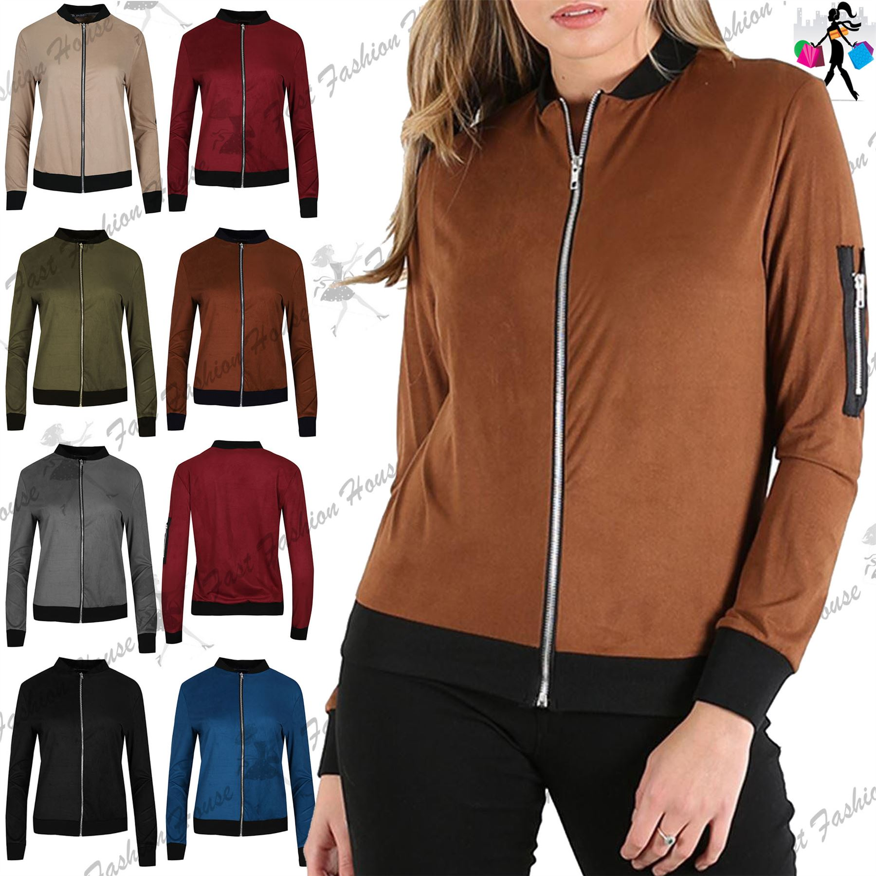 Women Ladies Lightweight Contrast Collar Suede Side Zip Biker Coat ...