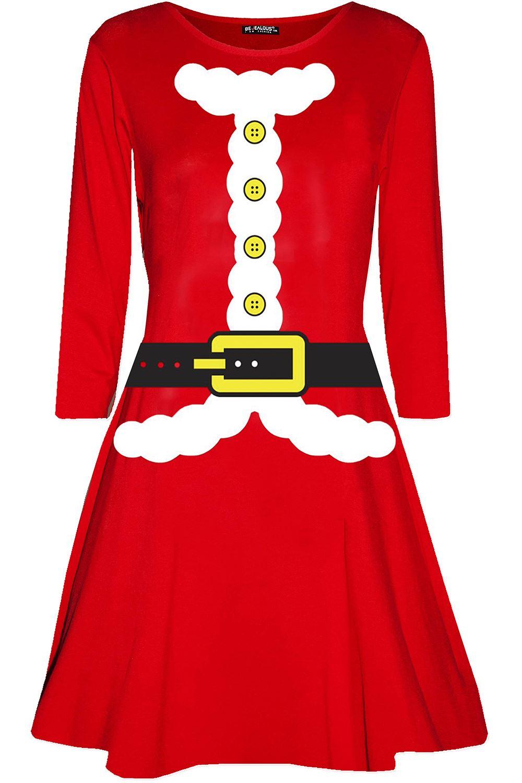 Womens-Ladies-Candystick-Elf-Long-Sleeve-Christmas-Xmas-Flared-Swing-Mini-Dress thumbnail 2