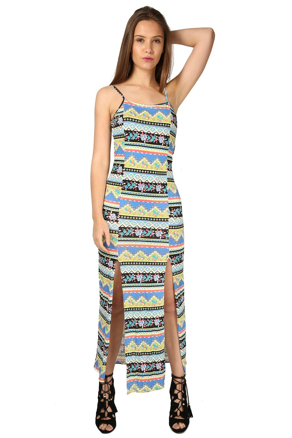 Womens Strappy Front Double Split Cami Summer Sleeveless Ladies Long Maxi Dress