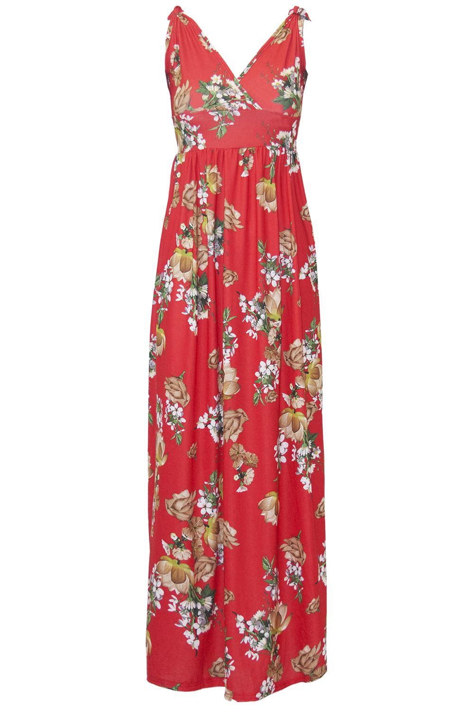 Womens-Ladies-Printed-V-Neck-Wrap-CrossOver-Tie-Knot-Strap-Sleeveless-Maxi-Dress