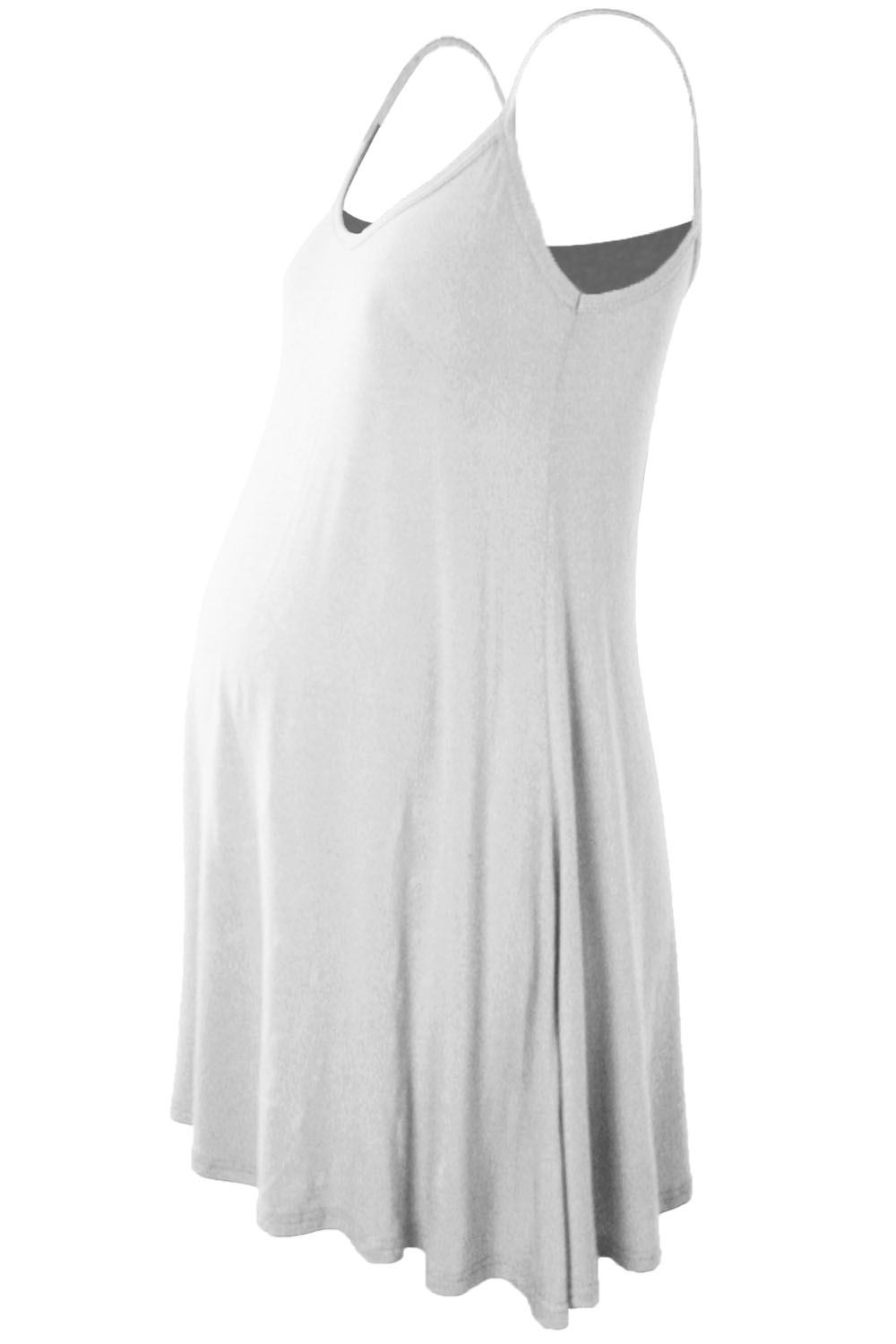 Womens-Ladies-Sleeveless-Cami-Floaty-Flare-Strappy-Maternity-Skater-Swing-Dress