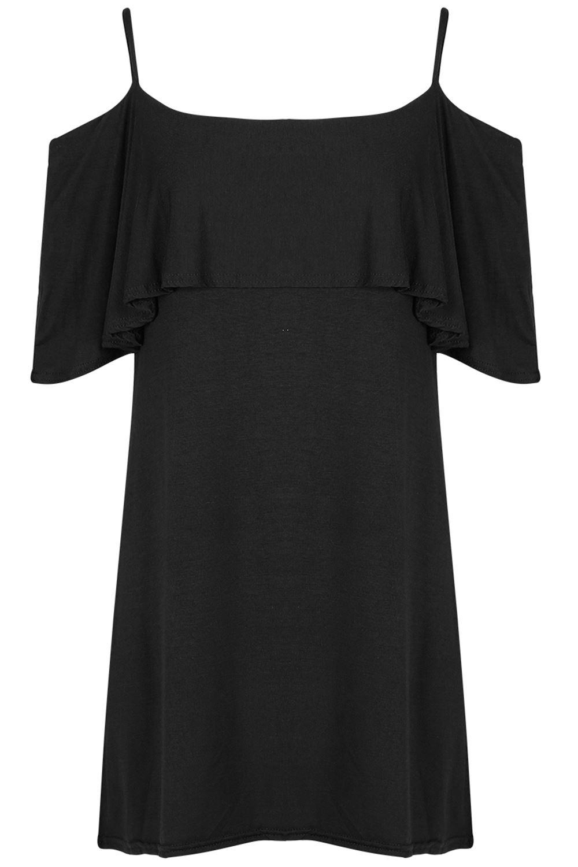 Womens-Ladies-V-Neck-Cross-Strappy-Flared-Frill-Sleeve-Skater-Swing-Mini-Dress