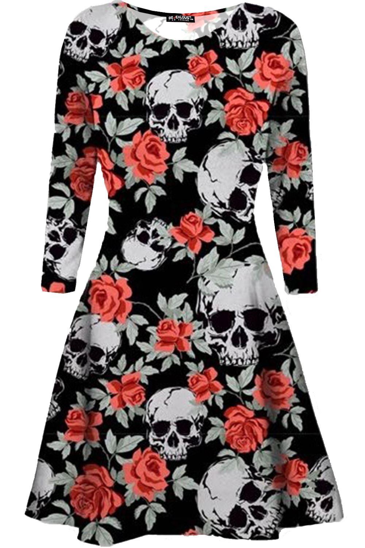 d283efe49335 Womens Ladies Pumpkin Spider Long Sleeve Skeleton Smock Halloween ...