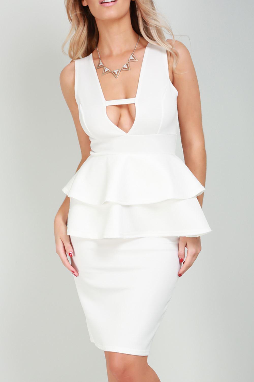 Women Mini Dress Ladies V Neck Sleeveless Double Frill Peplum Back Split Bodycon