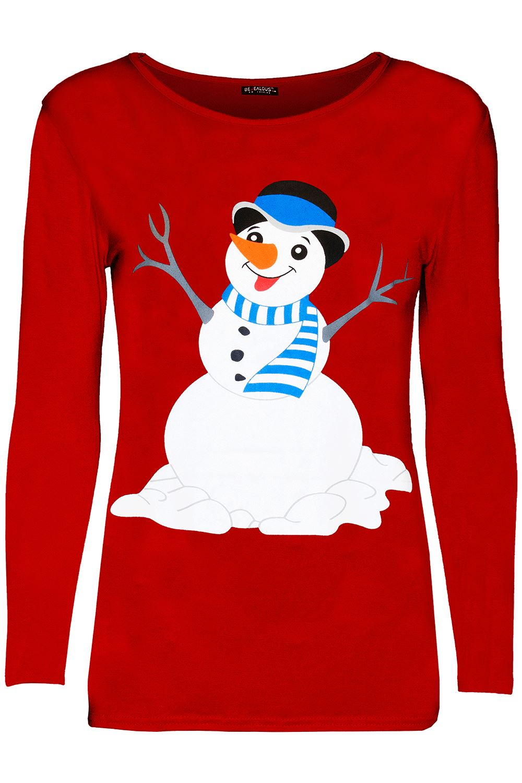 thumbnail 52 - Girls-Reindeer-Kids-Santa-Wall-Christmas-Long-Sleeve-Snowflakes-Children-Top
