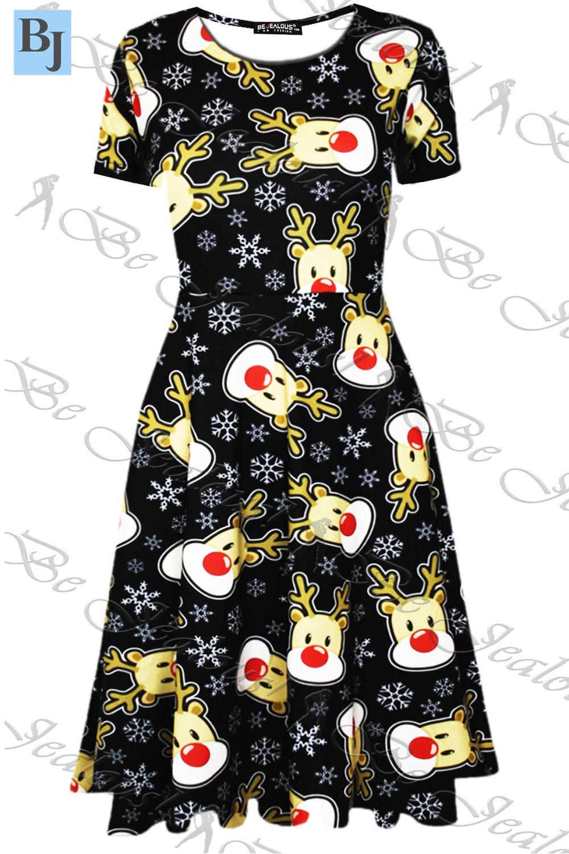 Womens-Ladies-Christmas-Santa-Snowman-Xmas-Pudding-Gingerbread-Midi-Skater-Dress