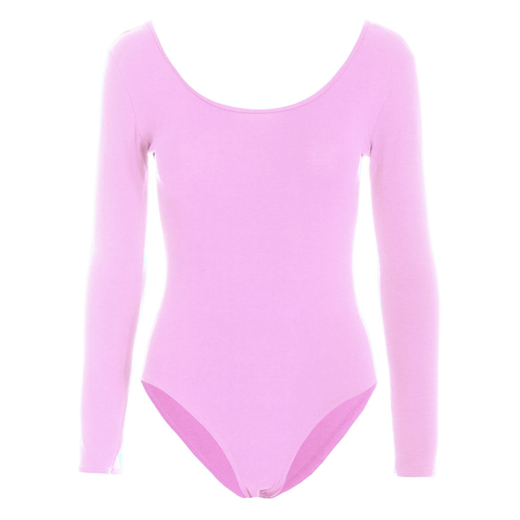 Womens Bodysuit Ladies Plain Long Sleeve Scoop Neck Jersey