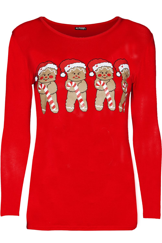 Womens-Ladies-Reindeer-Gingerbread-Santa-Christmas-Xmas-Long-Sleeve-T-Shirt-Top