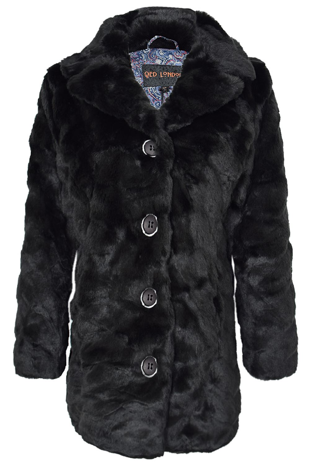 Womens Ladies Full Faux Fur Long Sleeve Button Collared ...