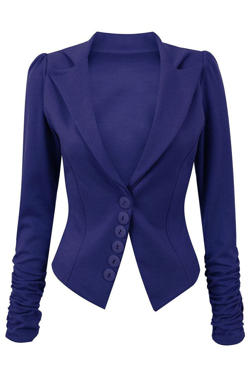 Womens-Ladies-6-Buttons-Ruched-Sleeve-Smart-Slim-Office-Collared-Blazer-Jacket