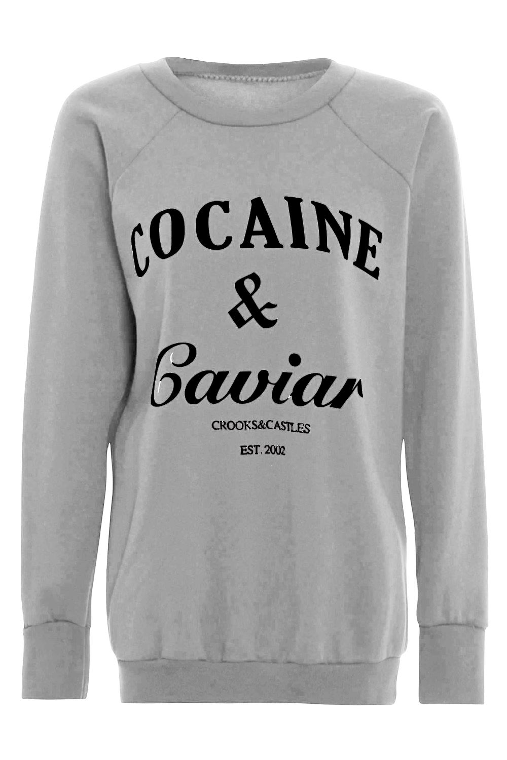 Ladies-Womens-Printed-Cocaine-And-Caviar-Sweatshirt-Pullover-Jumper-T-Shirt-Top